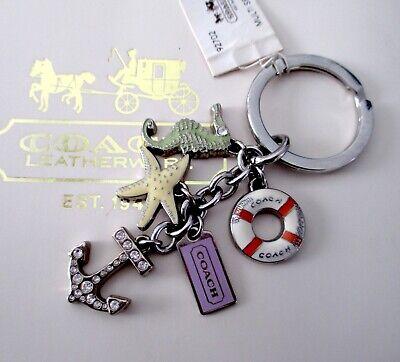 Coach Multi Sea Mix Seahorse Starfish Life Preserver Key Fob Keychain Bag Charm Mix Key Fob