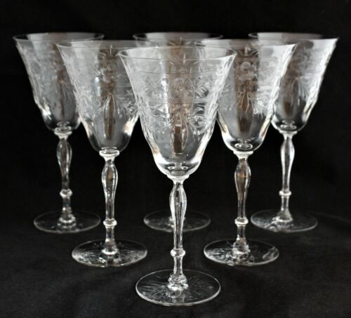 SET 6 LIBBEY ROCK SHARPE CRYSTAL WATER WINE GOBLETS