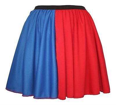 Ladies Blue & Red Harley Quinn Skater Skirt Harlequin Super Villain Halloween - Skater Skirt Halloween