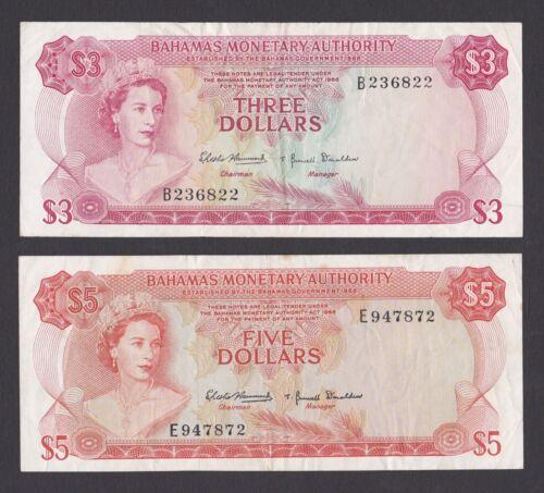 Pair of  Bahamas 1968 lightly Circulated Banknotes,  p28a p29a $3 & $5