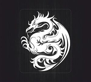 sticker decal vinyl car bike laptop macbook bumper chinese dragon tattoo white ebay. Black Bedroom Furniture Sets. Home Design Ideas