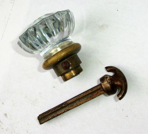 ONE Antique Vintage 12 Point Glass Door Knob w/ Closet Spindle