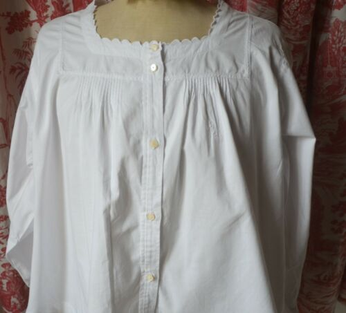 Antique French pure soft cotton lace frill blouse, pin tucks, LN monogram