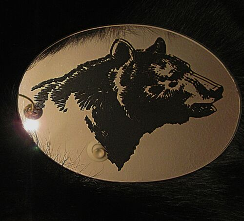 Oval Black Bear Etched Mirror  HTF