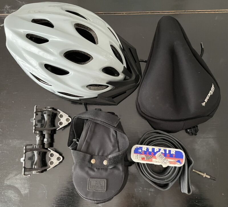 JobLot Bike Accessories Helmet/padded seat cover/tool pouch/pedals/puncture kit