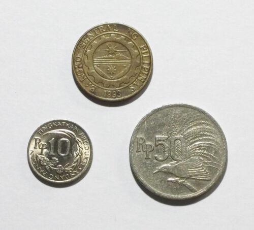 Indonesia 50 & 10 Rupiah 1971, and Philippines 25 Sentimo 1996