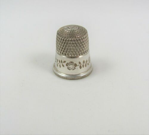 Simons Brothers Sterling Silver Thimble With Flowers