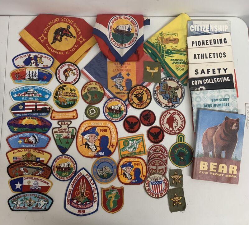 49 piece vintage BSA boy scouts lot. Jamboree, Philmont, Patches And Neckerchief