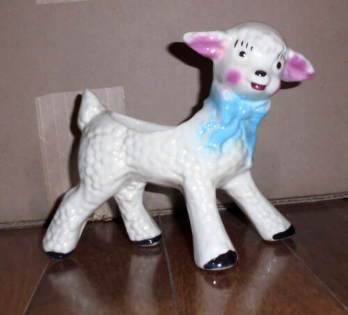 Vintage Pottery NURSERY LAMB PLANTER Great Condition 1960s Sweet !