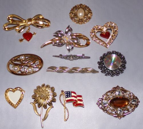 Lot Costume Jewelry Pin Brooch 12 pcs Pins Brooches Vtg