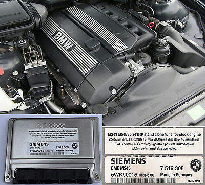 BMW M54B30 MS43 chip tuned ECU 245Hp for swap without EWS and other limits