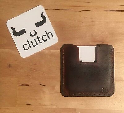 Square Leather Business Card Holder. Dark Brown Or Black. Hand Crafted.