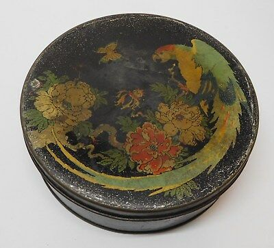 Tin with Parrot Bird Butterfly Flowers Meritas GB & Co Made in USA
