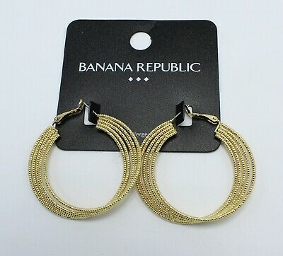 New Gold Tone Textured Twisted Hoop Earrings by Banana Republic #BRE52 Gold Tone Twisted Earrings