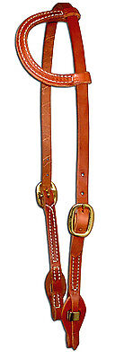 (Harness leather sliding one ear bridle headstall quick change  cowboy USA H154)