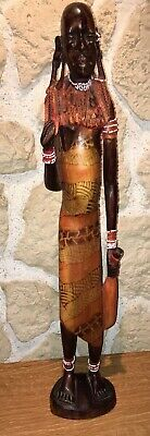 Statue Africa Ethnic Tribe Maasai Wood Carved Polychrome