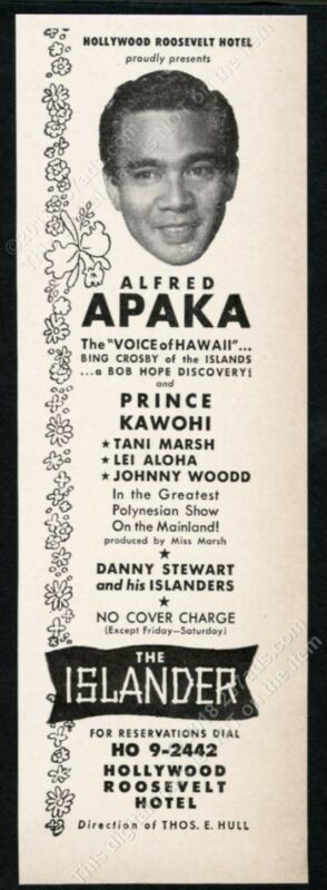1953 Alfred Apaka photo The Islander tiki show Hollywood Roosevelt Hotel ad