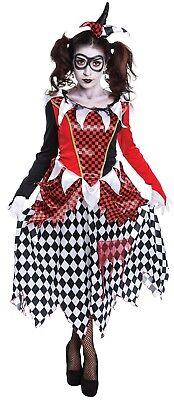 Damen Harlekin Böser Clown Halloween Horror Zirkus Kostüm Kleid Outfit
