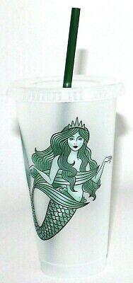 NEW Starbucks Mermaid Siren Cold Cup w/ Lid Straw  - Reusable Plastic Venti 24oz