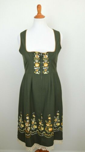 Vintage Rose Dirndl Embroidered German Dress Oktoberfest size 14 EUC