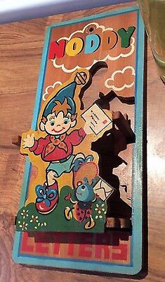 vintage 1950/60's Noddy ~ wooden wall mounted letter rack ~26.5 cm x 12 cm