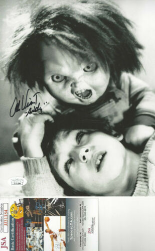 CHUCKY actor Alex Vincent  Autographed 8x10 attacking B/W  photo JSA Certified*