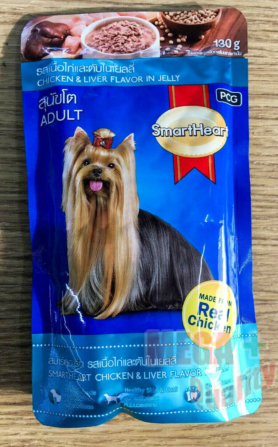 130 g. Pet Food SmartHeart Real Chicken + Liver Flavor in Jelly Adult Breeds Dog