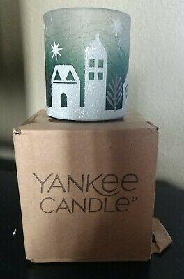 YANKEE CANDLE 1570295 Votive Holder WINTER VILLAGE NIB CRACKLE GLASS