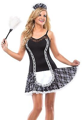 Sexy French Maid Costume Fancy Dress Black White Maids Outfit Womens Adult NEW (Adult Maid Outfit)