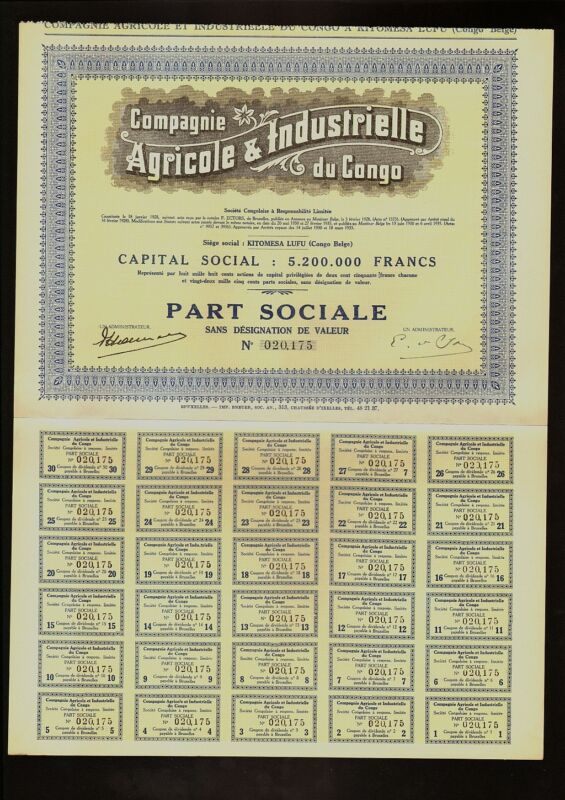 ADRICA Agricole & Industrielle du Congo Kitomesa Lufu - Colonial Congo Belgium