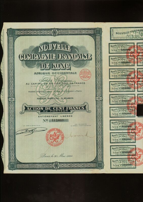 FRENCH COLONIAL AFRICA Nouvelle Compagnie Francaise de Kong Paris 1929