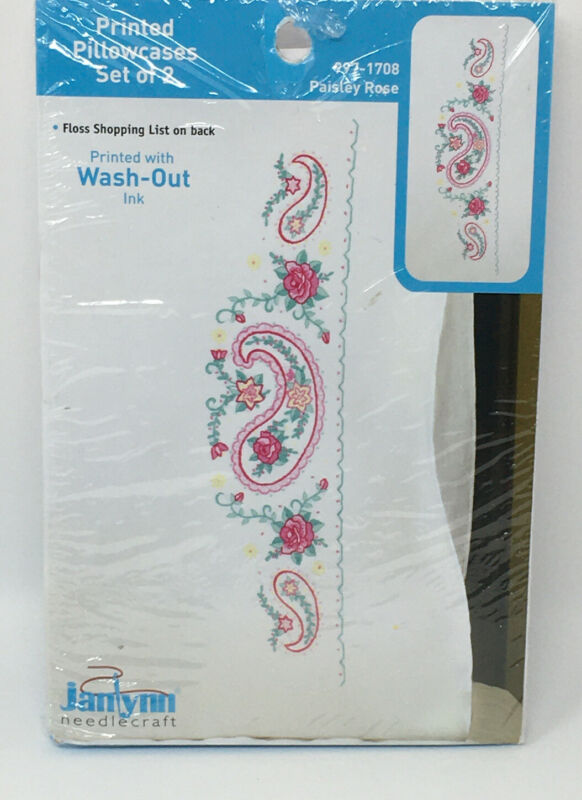 NEW Janlynn Needlecraft stamped printed Pillowcases Set of 2 Paisley Rose