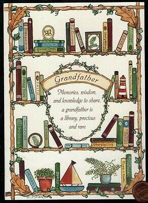 BIRTHDAY Grandfather Bookshelf Books Plant Pictures - Birthday Greeting Card Pictures Birthday Cards