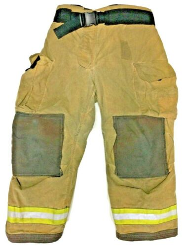 42x30 Globe Gxtreme Brown Firefighter Turnout Pants With Yellow Tape P1235