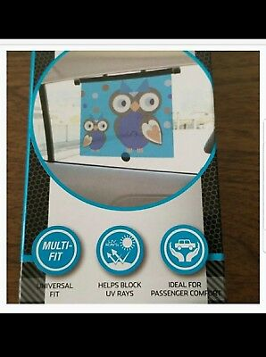 """Auto Drive Retractable Roller Sun Shade For Car Window Owl -""""NEW IN BOX"""""""