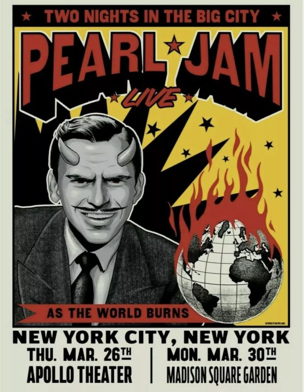 Pearl Jam - 2020 - New York - AS THE WORLD BURNS - Poster! SOLD OUT! MINT!