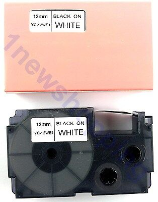 New Great Quality Compatible For Casio Tape 12mm Black On White Label Xr-12we1