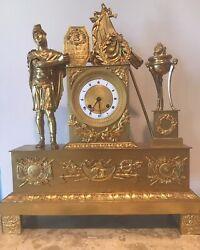 """Antique 1800's French Empire Gilt Bronze Mantel Clock """"Amour Alaplus Belle"""""""