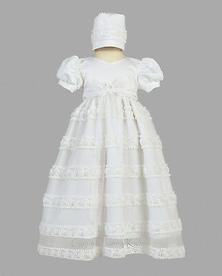 (Baby Flower Girls White Christening Baptism Dress Satin Tulle Gown Bonnet Infant)