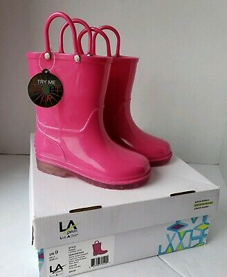 Used, LA gear US 9  Live active Kids LED Light-Up Jelly Rubber Rain Boot Pink #2999 for sale  Grove City