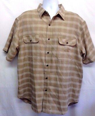 The North Face MEN'S Shirt Beige Plaid Woven SS Button Up 2 Pocket Sport Shirt L