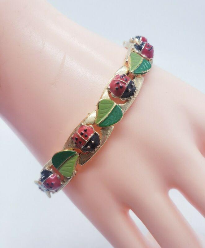 Vintage Green & Red Enamel Ladybugs Leaves Link Bracelet