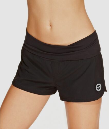 $136 Roxy Womens Black Stretch Foldover Dolphin Hem Logo Boa