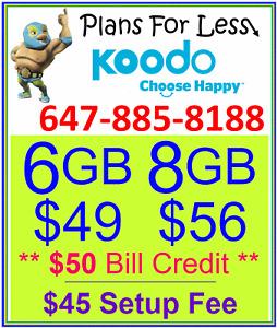 Koodo 6GB 8GB LTE Data Canada talk text plan + $50 BONUS