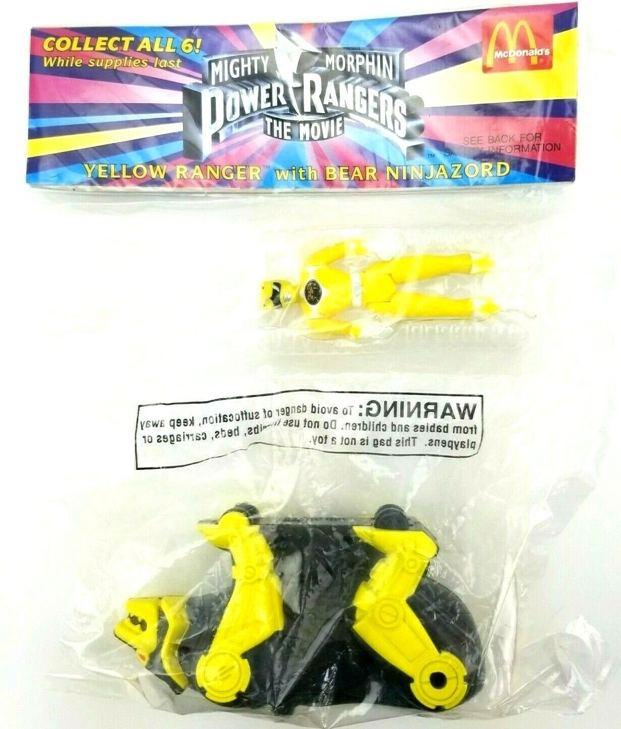 McDonalds Mighty Morphin Power Rangers The Movie Toy Yellow Bear Ninjazord L2