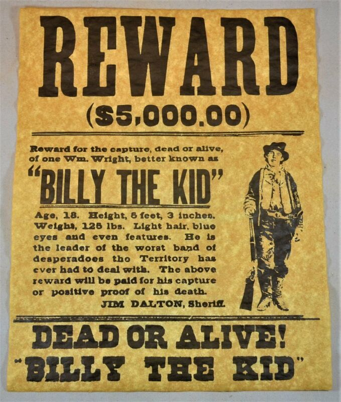 Americana Billy the Kid Outlaw Wanted Poster