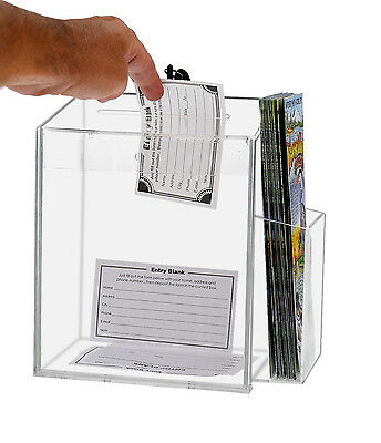 Lot Of 2 Clear Acrylic Counter Top Locking Ballot Box With Brochure Pocket
