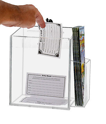 Clear Acrylic Counter Top Locking Ballot Box With Brochure Pocket