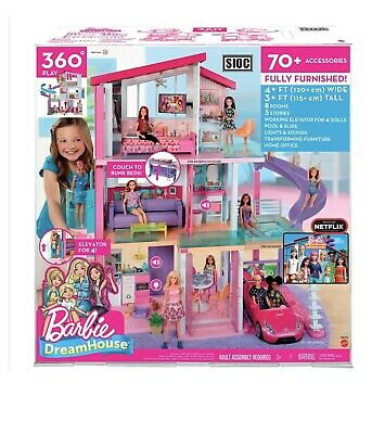 Barbie Dreamhouse Dollhouse with Pool, Slide and Elevator Play set with 70+ Toys