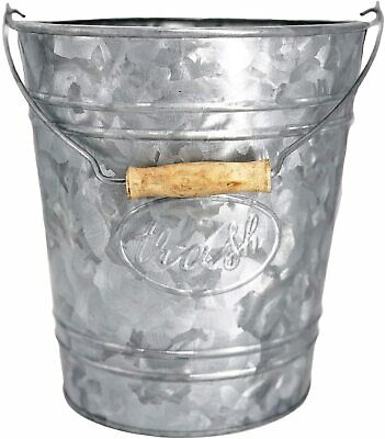 Galvanized Trash Can | Small Bathroom Waste Bin Embossed Rings, Farmhouse Decor for sale  Shipping to Ireland